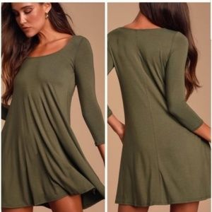 LULU'S Twirl Power Swing Dress In Olive Green